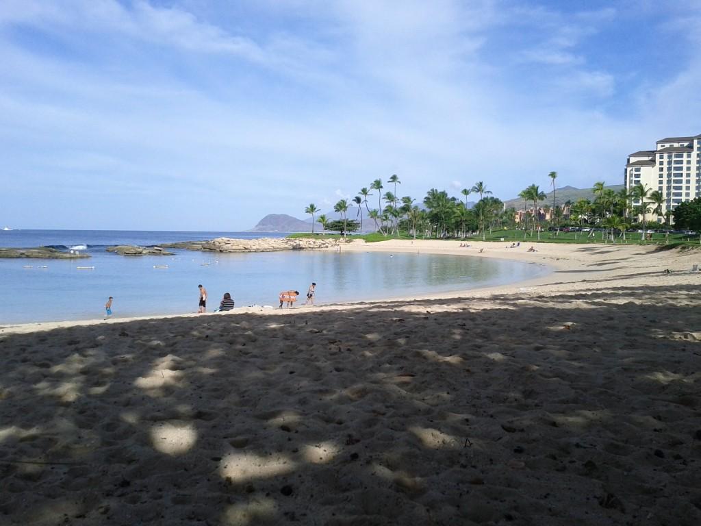 Enjoying a morning swim at the marina's beach lagoon