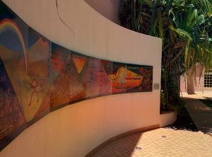 In the sculpture garden at HISAM