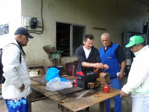 At work in Raivavae - we loved getting to know the mechanics and are grateful for their generosity.