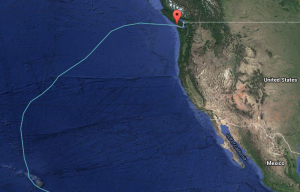 Route sailed from Hawaii to Vancouver